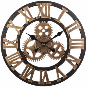 Vintage Clock European Retro Vintage Handmade 3D Decorative Gear Wooden Vintage Wall Clock (Copper Color)
