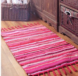 Handwoven Natural linen Cotton Colorful mat for kids room Handmade Rainbow Rug Carpet water absorption mat door rug hallway pad