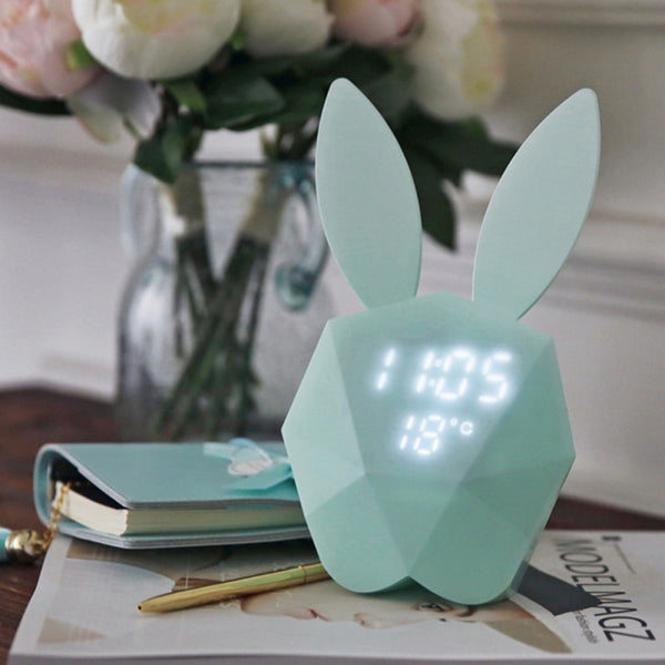 New LED Sound Night Light Thermometer Rechargeable Table Wall Clocks Cute Rabbit Shape Digital Alarm Clock For Home Decoration