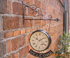 New Style Handmade Metal Crafts Home Decoration On The Wall Wrought Iron Double Faced Wall Clock Retro Design Vintage Wall Clock