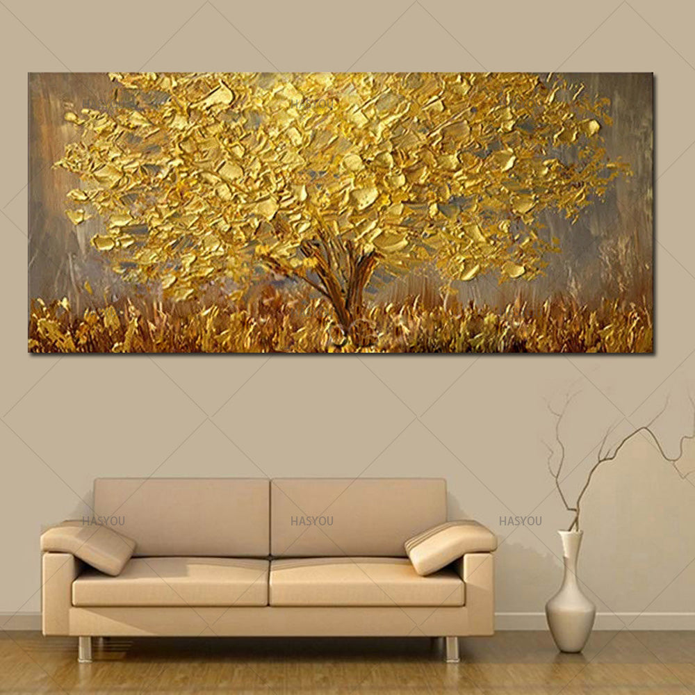 Handmade Large Modern Canvas Art Oil Painting Knife Golden Tree Paintings  For Home, Decor Wall Art