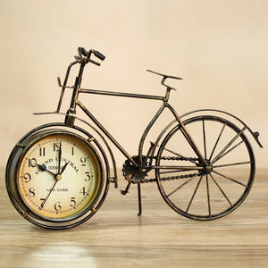 Iron bicycle desktop clock cinnamon and black color mute home decoration vintage table clock horloge frozen reloj 21