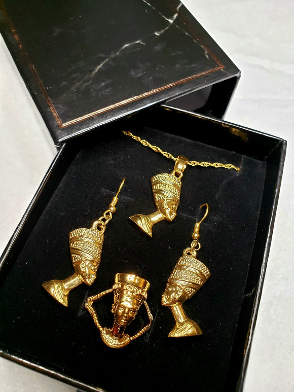 Queen Nefertiti Pendant Necklace, Earrings and Ring set