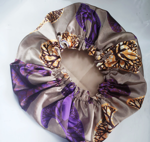 "The ""Lola"" Purple and Gold ""REVERSIBLE"" Satin Bonnet"
