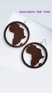 Wooden Africa Earrings 8cm