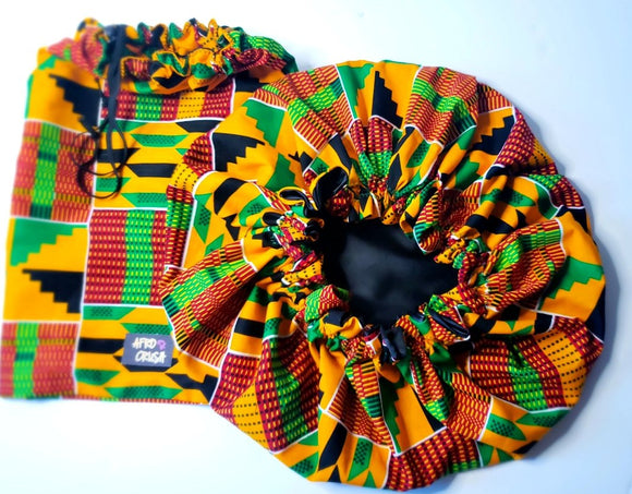 Camille Kente Satin Bonnet