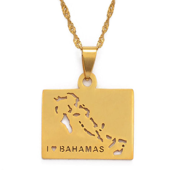 Bahamas Map Pendant Necklaces