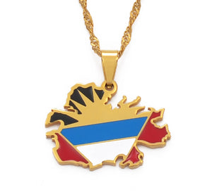 Antigua Map Flag Pendant and Necklaces
