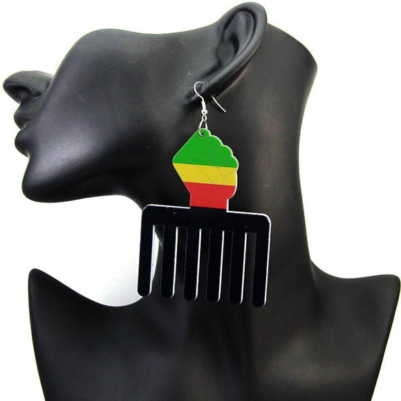 Large Size Power Fist Comb Wood Earrings