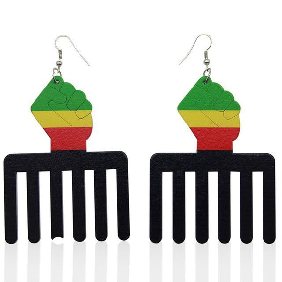Power Fist Comb Wood Earrings