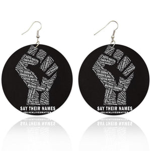 Printed African Power Fist Wooden Drop Earrings