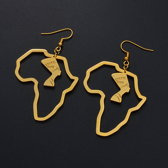 Africa Map with Nefertiti Earrings