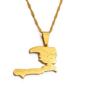 Haiti Country Map With States Pendant & Necklaces
