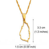 St Lucia Outline Pendant Necklace