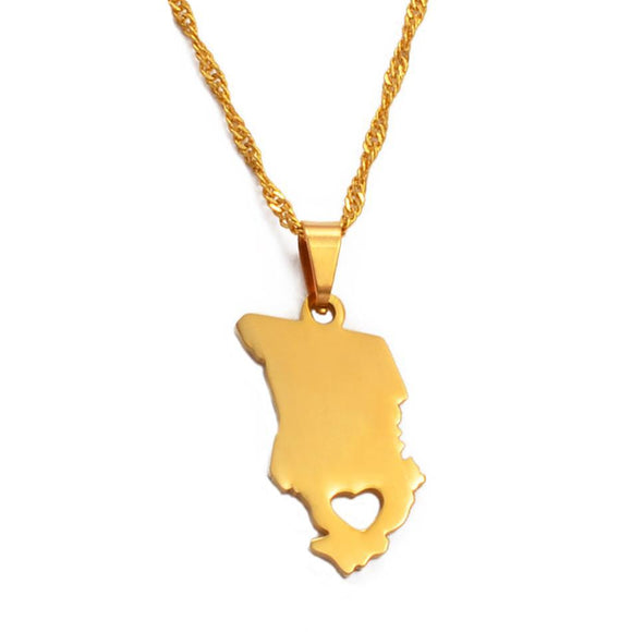 Chad Country Map Pendant Necklaces