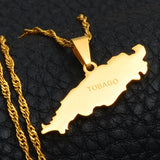 Tobago Island Map Pendant Necklaces