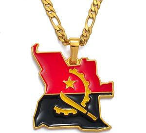 Angola Map & Flag Necklace