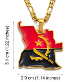 Angola Map Flag Pendant Necklace
