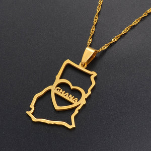 Ghana heart Map Necklace