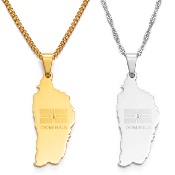 Dominica Map Flag Pendant Chain Necklaces