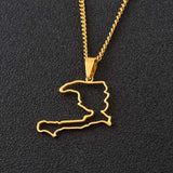 Haiti outline Pendant Necklaces