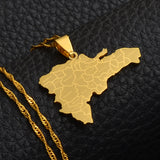 Dominican Map With City Name Pendant Necklaces