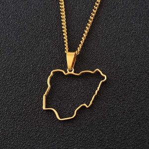 Nigeria outline Necklace
