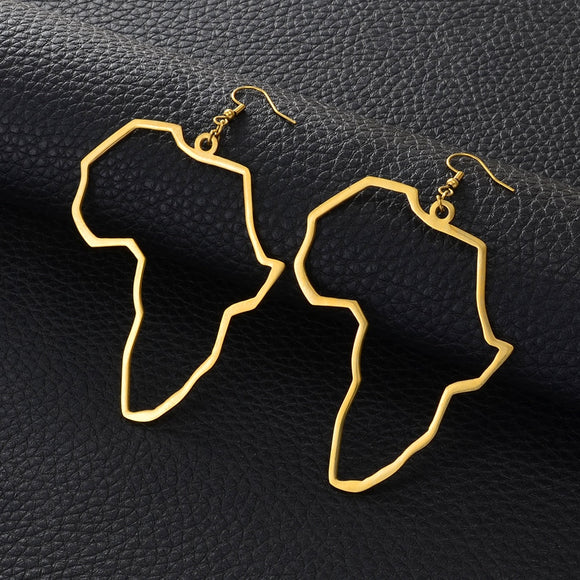 Africa Outline Dangle Earrings.