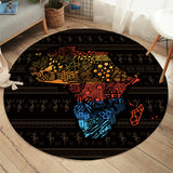 African Map Round Carpet