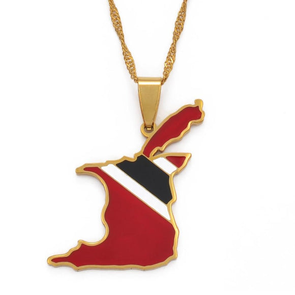 Trinidad and Tobago Flag Pendant and Necklace