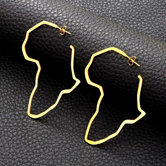 Africa Gold open Hoop Outline Earrings