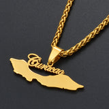 Curacao Islands Map Pendant Necklaces