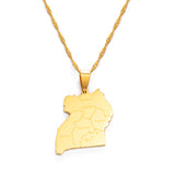 Uganda Map & Cities Pendant Necklace