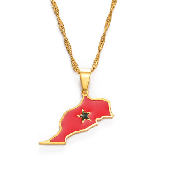 Morocco Map & Flag Necklace