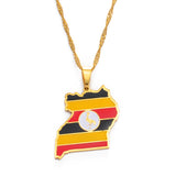 Uganda Map & Flag Pendant Necklace