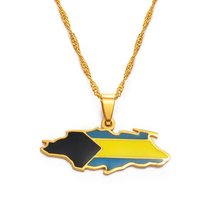 Bahamas Nassau Island Map Necklace