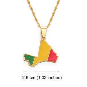 Mali Map & Flag Pendant Necklace