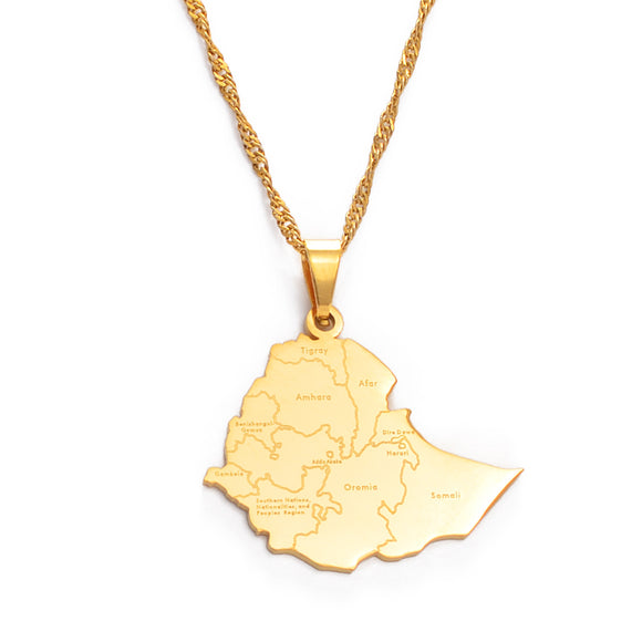 Ethiopia Map Cities Pendant Necklace
