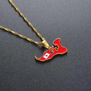 Tonga Map & Flag Pendant Necklace