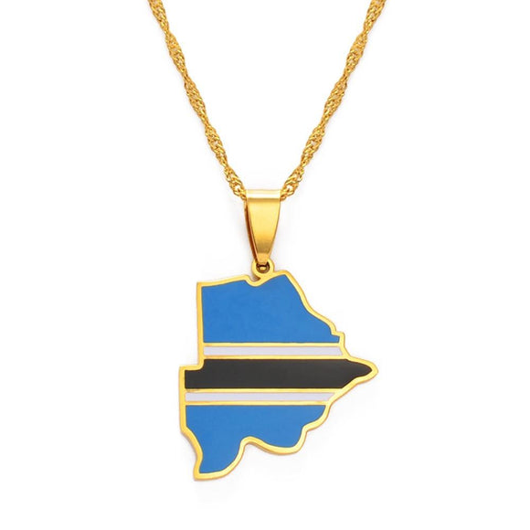 Botswana Map Flag Pendant