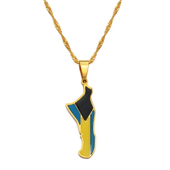Bahamas Andros Island Flag Pendant & Necklace