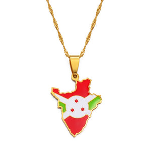 Burundi Flag Pendant Necklace