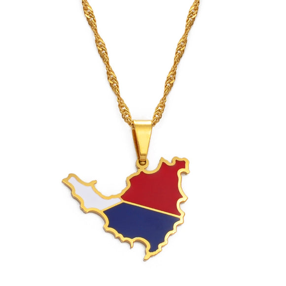 St. Maarten / Saint-Martin Island Map Pendant Necklace