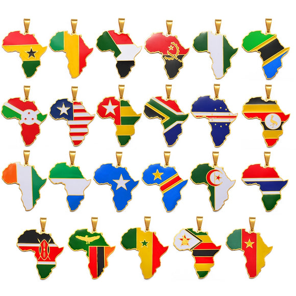 Nations of Africa Pendant Necklace Jewelry