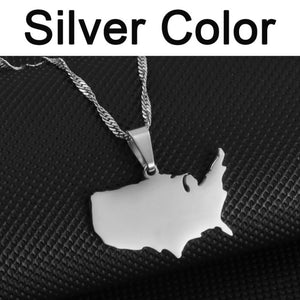 American Map Pendant and Necklaces