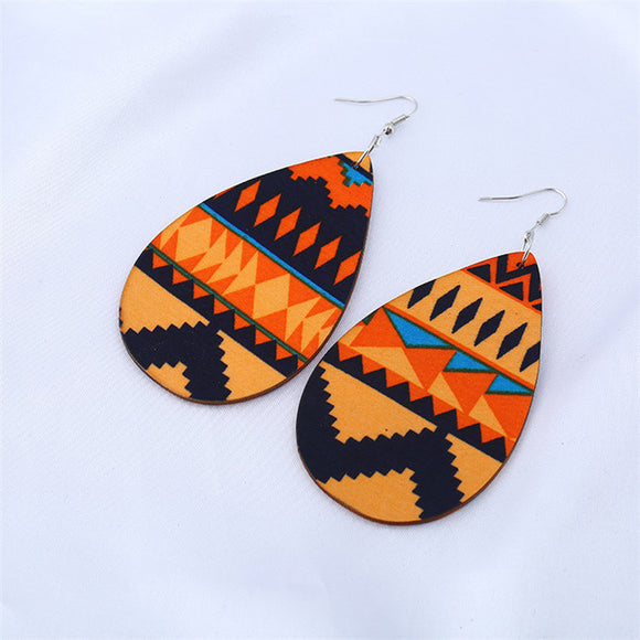 AfroPrint Wooden Pendant Earrings