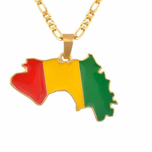 Guinea Flag Pendant Necklaces