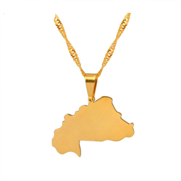 Burkina Faso Map Pendant & Necklace