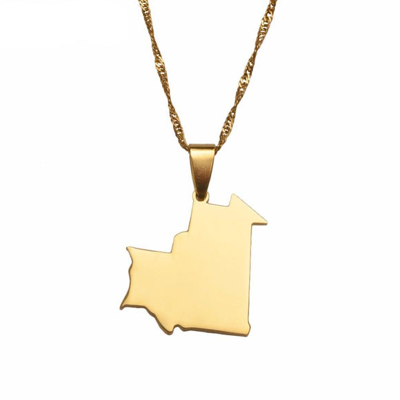 Mauritania Map Pendant Necklace
