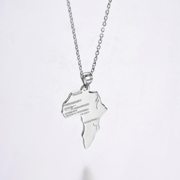 925 Sterling Silver African Map Pendants Necklaces